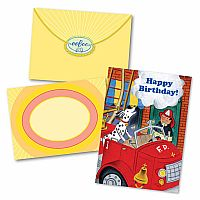 Firedog and Fireman Birthday Card