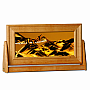 Medium Cherry Wood Rectangle Sand Art Sunset Orange