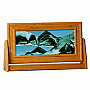 Medium Cherry Wood Rectangle Sand Art Summer Turquoise